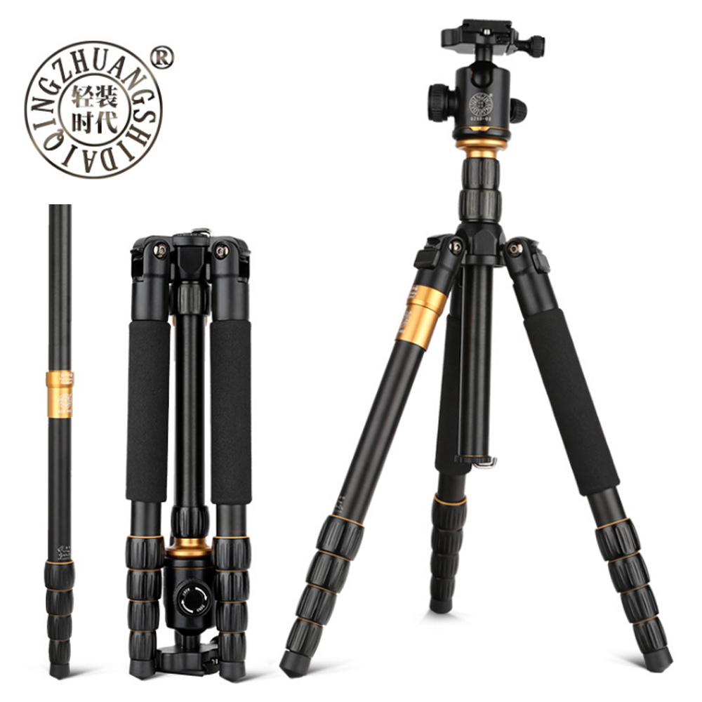 QZSD Q666 Professional Magnesium Aluminium Alloy Tripod Monopod for Travel DSLR Camera Light Compact Portable Stand Retail Box