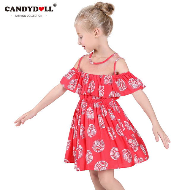 69b21bc6f0c CANDYDOLL Cold Shoulder Dress Girls Ruffled Dresses Summer Elegant Baby  Girls Princess Dresses Kids New 2017 Cotton Cothes