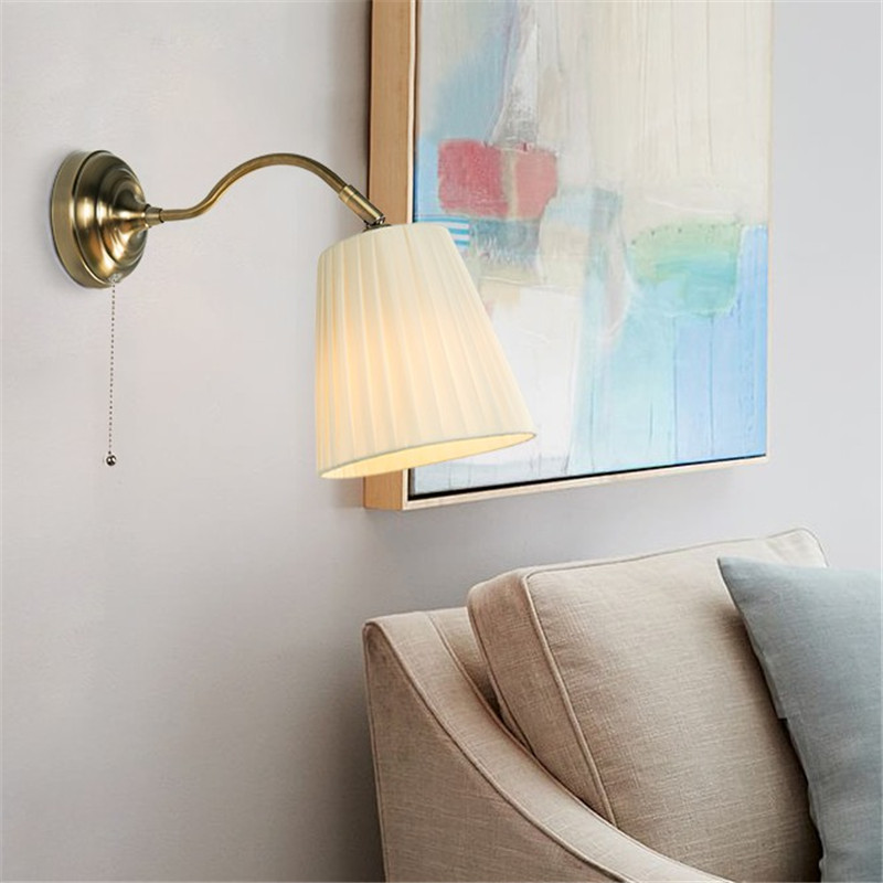 Simple Adjust Wall Sconce Fabric Shade Modern LED Wall Lamp With Switch Bedside Wall Light Fixtures Lighting Lampara Pared american copper adjust wall sconce simple vintage led wall light fixtures with plug switch bedside wall lamp indoor lighting