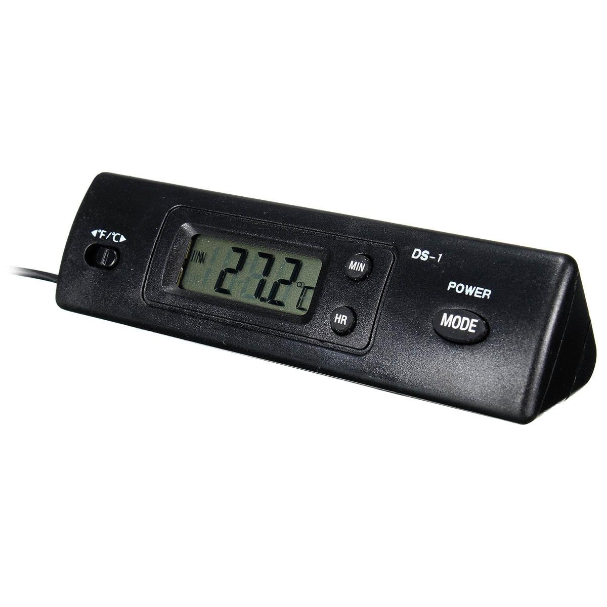 Dual temperatura dentro y fuera del termómetro del coche reloj electrónico digit