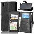 Luxo retro flip case de couro do telefone móvel para sony xperia z5 prémio capa wallet para sony xperia z5 plus casos com cartão Slot