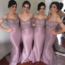 Vestido Madrinha Long Mermaid Pink Bridesmaid Dresses 2016 Off The Shoulder  Appliques Beaded Prom Wedding Party 8cb922d87b98