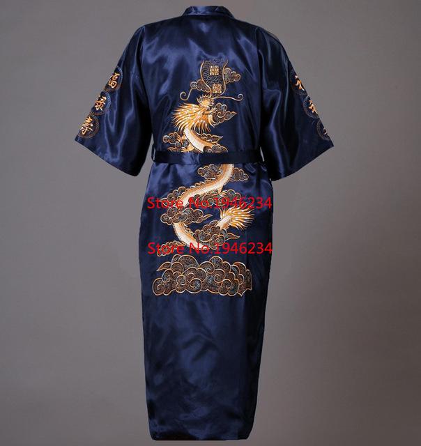 Caliente venta Navy azules chinos hombres de satén Robe bordado del Kimono de Bath otoño primavera ropa de dormir tamaño sml XL XXL S0008
