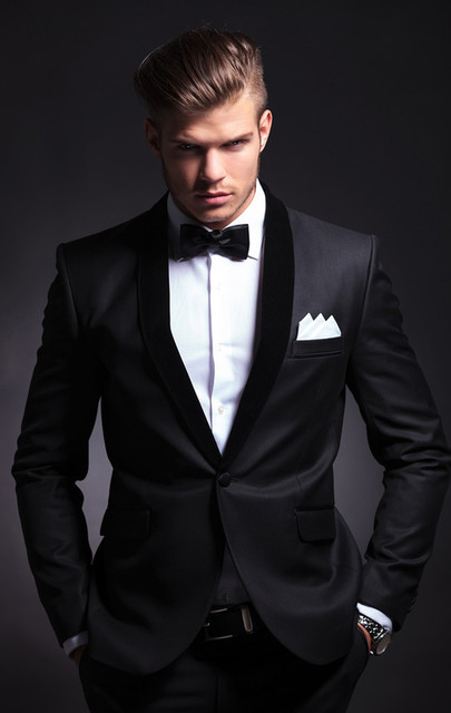 Groom Wear Slim Fit Groom Suit Black Groom Tuxedos Custom Made