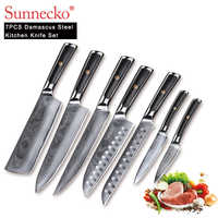 SUNNECKO 7PCS Kitchen Knives Set Chef Slicer Utility Cleaver Knife Japanese Damascus VG10 Steel Sharp G10 Handle Cutting Tools