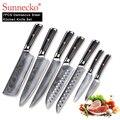 7 SUNNECKO PCS Conjunto de Facas de Cozinha Do Chef Slicer Utilitário Cutelo Faca Afiada de Aço Japonês Damasco VG10 G10 Lidar Com Ferramentas De Corte