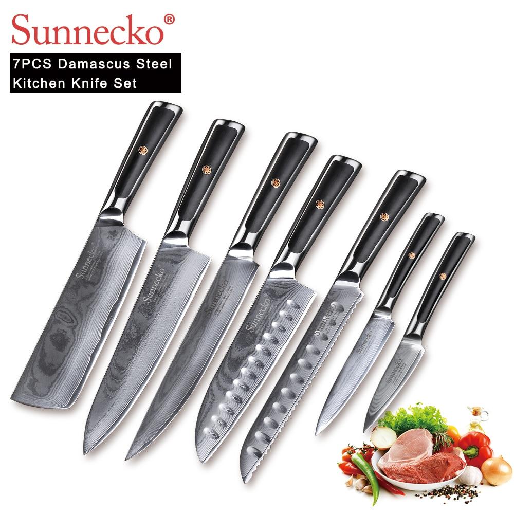 SUNNECKO 7 sztuk noże kuchenne zestaw szefa kuchni krajalnica Utility tasak nóż japoński damaszek VG10 stali nierdzewnej ostre G10 uchwyt narzędzia do cięcia w Zestawy noży od Dom i ogród na  Grupa 1