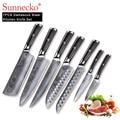 Set de cuchillos de cocina SUNNECKO 7 piezas, cuchillo de cuchilla para Chef, herramientas de corte con mango G10 de acero de Damasco japonés