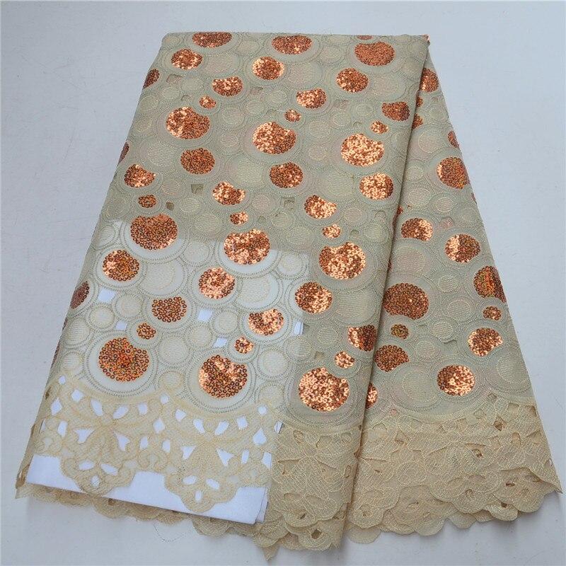 (5 yards/pc) rouge et rouge africain Organza dentelle tissu avec beaucoup de paillettes nouvelle dentelle de maille avec broderie pour la fête - 2