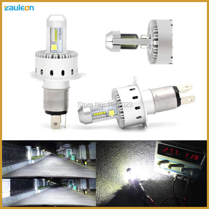 ФОТО 2017 Newest Design All-in-one LED Headlight H4 9003 HB2 56W 6800lm XHP50 Chip 6000K Xenon White Plug and play headlamp