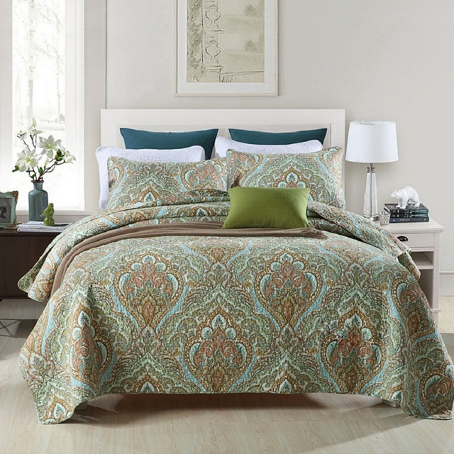 Chausub Quilt Set 3pcs Cotton Quilts Quilted Bedspread Bed