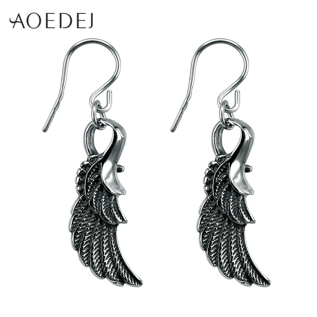 AOEDEJ Wings Feather Long Dangle Earrings Women Stainless Steel Punk Dangle  Earrings Mens Long Drop Earrings 94a9569ea673