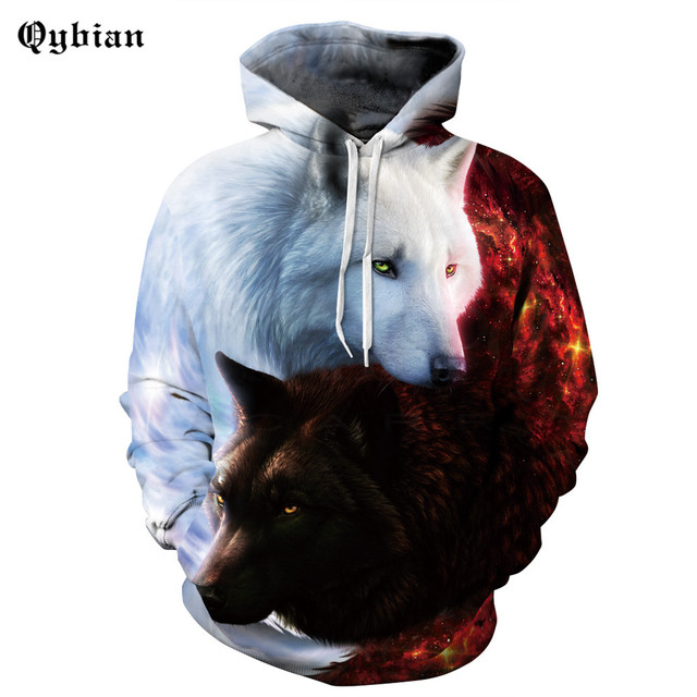 New Fashion Men Women 3d Black Wolf White Wolf Sweatshirts With Hat Print  Hooded Hoodies Brand Hoody Tops Pullover 90e6e979ca3