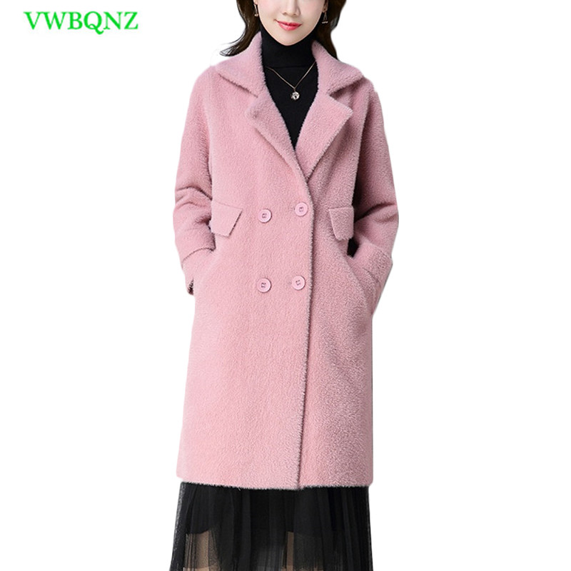 Plus Size Double-sided Wool Coat Women Slim Long Woolen Coats Spring Autumn New Womens Upscale Double-breasted Overcoat 5XL A304