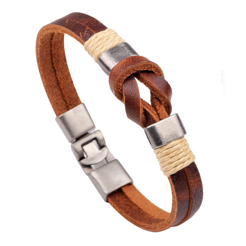 Er Casual Sufer Hand Woven Bracelets Genuine Brown Leather