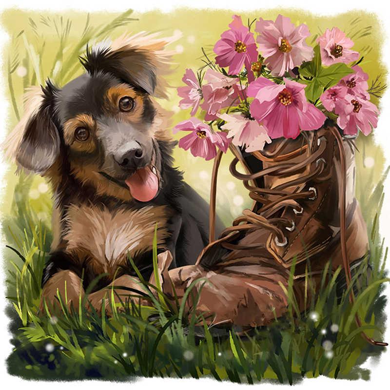 Открытка собачка с цветочком, открытке день рождения