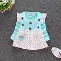 2016 nueva niña vestido de otoño de manga larga vestido de princesa vestido de algodón ropa de bebé recién nacido ropa de los niños del Envío gratis