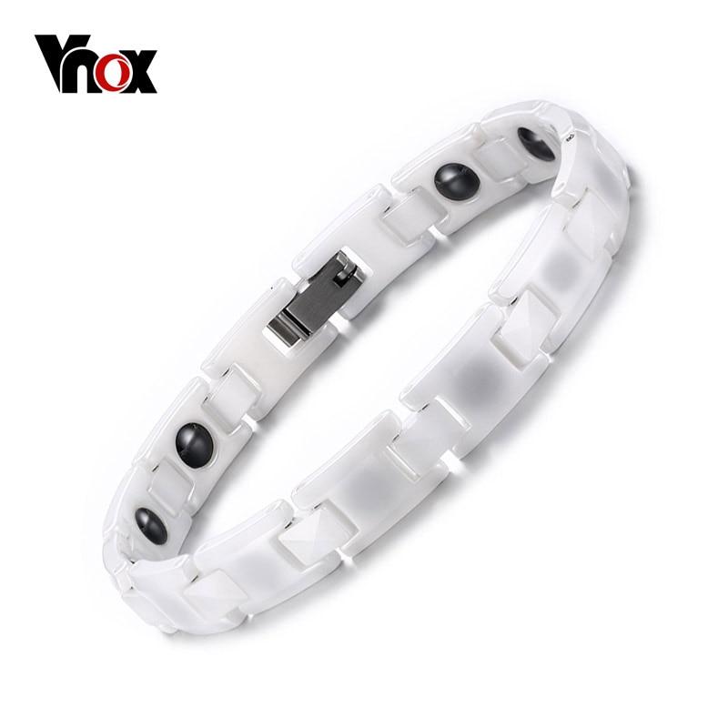 Vnox White Ceramic Bracelets for Women Trendy Healthy Magnetic Energy Bracelet 18cm Can Adjust trendy top white ceramic bracelet elegant star health care titanium bracelets