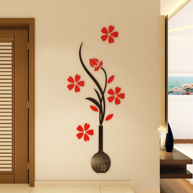 Vase Plum 3D Acrylic Mirror Wall Stickers Living Room Art Backdrop DIY Wall Stickers Home Decor Wall Sticker Flower Mural