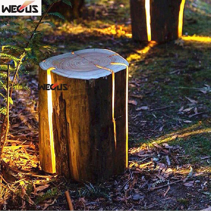 Gepatenteerd product. Stronkenlichten, houten kruklichten, imitatie houten gazonlicht