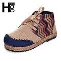 Hee grand marca das mulheres doces botas cor misturada dedo do pé redondo botas high top lace-up padrão cânhamo manual xwc1007
