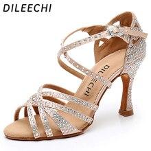 DILEECHI Latin dance shoes big small rhinestone shining Bronze Skin Black satin Women Salsa party Ballroom shoes Cuba 9cm heel