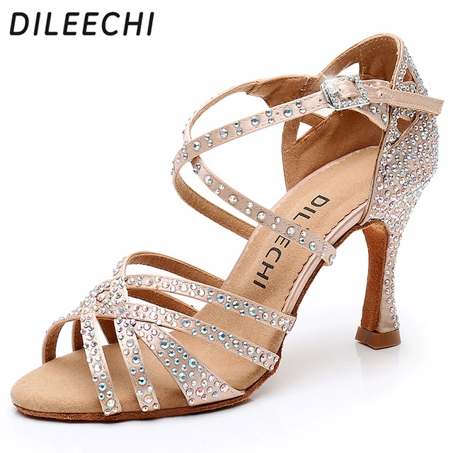 DILEECHI Latin dance shoes big small rhinestone shining Bronze Skin Black  satin Women Salsa party Ballroom shoes Cuba 9cm heel d79d63ab36da