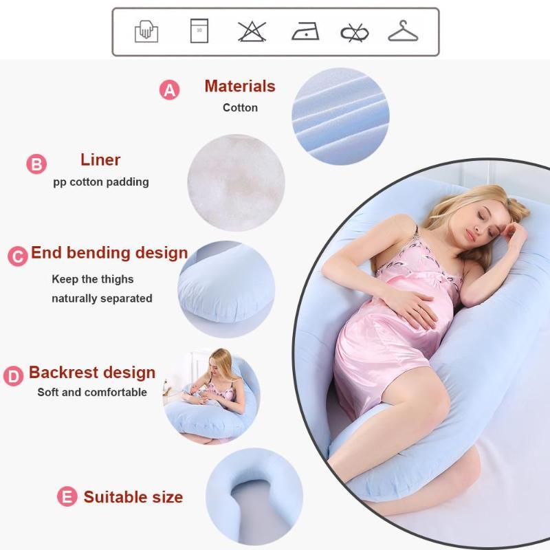 Dormir almohada para las mujeres embarazadas cuerpo puro de algodón funda de almohada en forma de U almohada Multi-función de accesorios de viaje