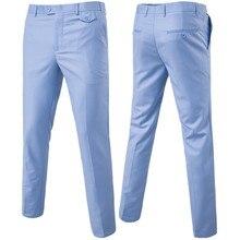 Качественные мужские костюмные брюки, однотонные повседневные деловые офисные брюки, тонкие мужские платья жениха, Свадебные брюки, мужские большие размеры 6XL, брюки