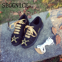 SEGGNICE Women Flat Shoes Riband Print Women Platform Shoes Casual Ladies Lace Up Star Style 2019 Spring Summer Shoes Female