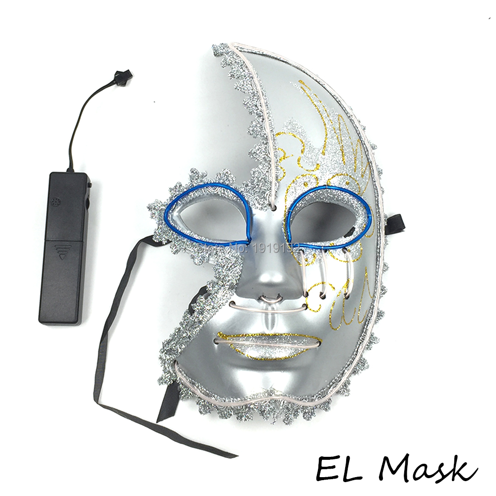 10 pcs Halloween Mask EL Wire Mask with Sound Inverter 10 colors ...
