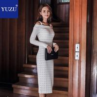Off Shoulder Knitted Dress White Black Office Women Spaghetti Strap Bodycon Pencil Long Sleeve Mid calf Slash Neck Party Dresses