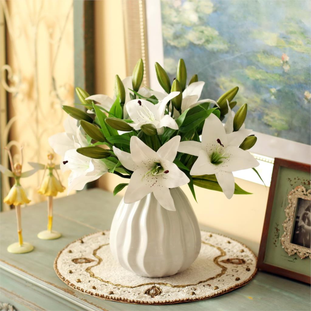 Image 3 - HI Q 11pcs 3 heads real touch PVC artificial  lily silk decorative flower for wedding decoration Christmas gift-in Artificial & Dried Flowers from Home & Garden