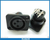 20PCS Right Angle 3 Pin XLR Female Panel Chassis Socket Black Connector