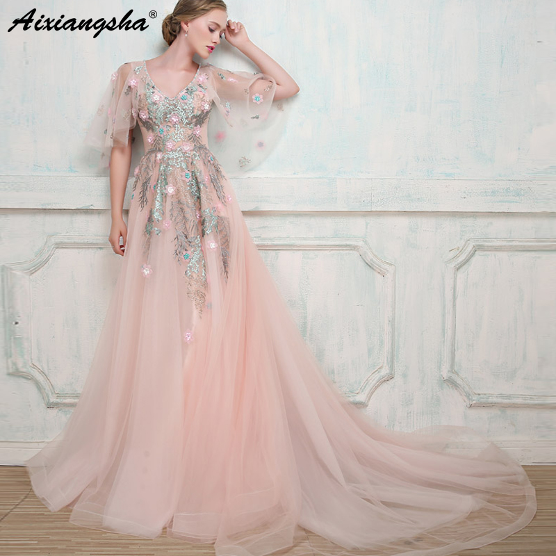 7ed997aa26f Pink Lace Long Prom Dresses 2018 V-Neck Beading Long Prom Dress Elegant  vestido de. US  211.00. Vintage Embroidery Custom Color Plus Size ...