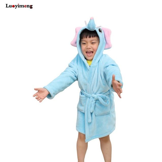 dd99b9348b Baby Girl Clothes Kids Bath Robes Children Flannel Bathrobe Boy Dressing  Gown Nightwear Unicorn Pajamas Hooded Cartoon Sleepwear