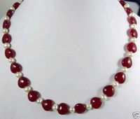 FREE SHIPPING Elegant 7 8MM Natural White Cultured PearlHeart Red RUBY Necklace 18
