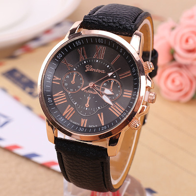 wholesale 100pcs/lot Luxury Women Watch Leather Roman Numerals Big Dial Hour Analog Quartz Wrist Watches Free shipping Low price