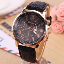 wholesale 100pcs/lot Luxury Women Watch Leather Roman Numerals Big Dial Hour Analog Quartz Wrist Watches Free shipping Low price