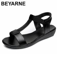 BEYARNE Genuine Leather Women Comfortable Flat Shoes Soft bottom Elastic Sandals Black White blue Lady Summer Shoes Female