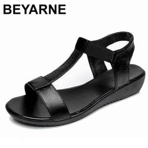 Image 1 - BEYARNE Genuine Leather Women Comfortable Flat Shoes Soft bottom Elastic Sandals Black White blue Lady Summer Shoes Female