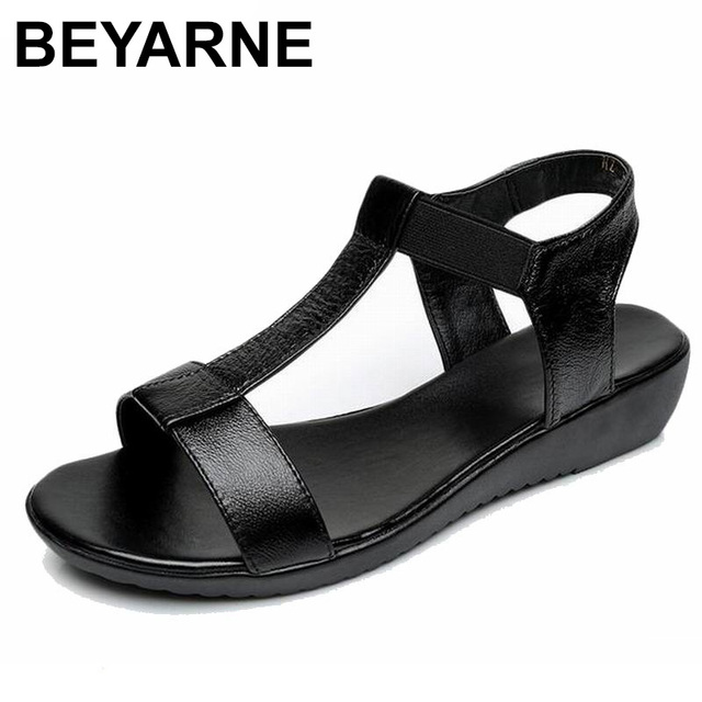 BEYARNE Genuine Leather Women Comfortable Flat Shoes Soft bottom Elastic Sandals Black White blue Lady Summer Shoes Female