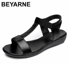 BEYARNE hakiki deri kadın rahat düz ayakkabı yumuşak alt elastik sandalet siyah beyaz mavi bayan yaz ayakkabı kadın