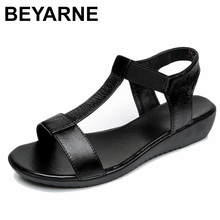 BEYARNE zapatos planos cómodos de piel auténtica para mujer, sandalias elásticas de fondo suave, color negro, blanco, azul, para verano