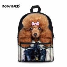 Instantarts Для женщин Рюкзаки 3D милые животные собака печать на холсте сумка Повседневное ноутбук путешествия Bookbags для подростков Обувь для девочек