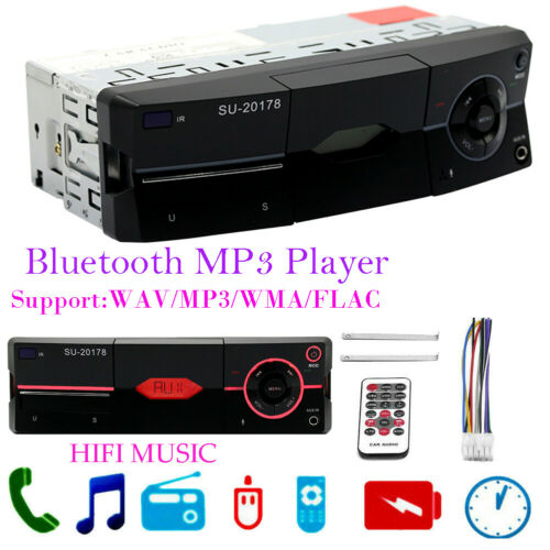 Autoradio Din AUX Audio AM FM SD Bluetooth stéréo lecteur MP3 unité de tête stéréo RDS AM FM MP3 USB SD auxiliaire in-dash ISO unité de tête