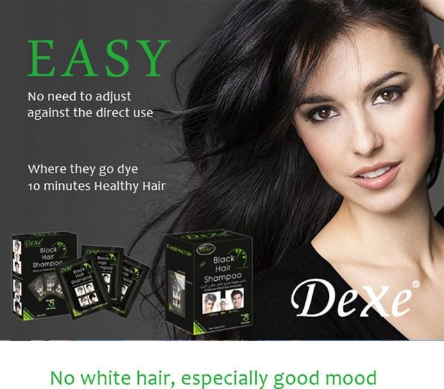 NEW 2pcs/lot 5mins fast colored hair blacken shampoo Grey hair ...