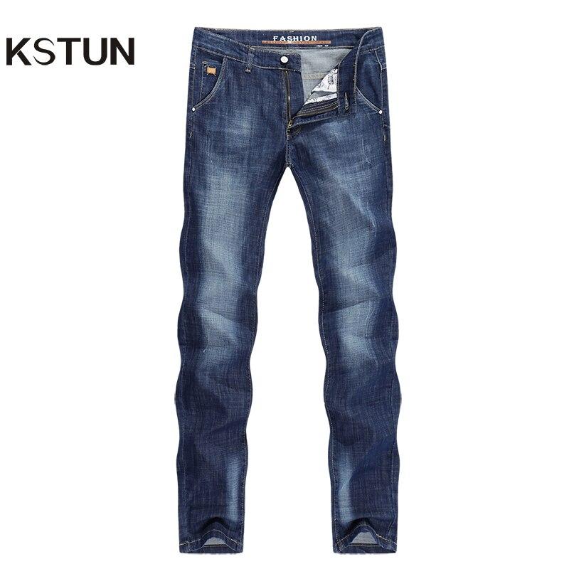 KSTUN Brand Mens Jeans Summer Ultrathin Slim Straight Light Blue Leisure Fashion Design Man Denim Pants Cowboys Jean Top Quality