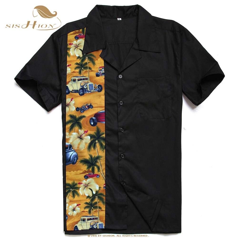 Herrenbekleidung & Zubehör Hemden Sishion Vintage 1950 S Retro Herren Bowling Shirt St110 Rock N Roll Kurzarm Punk Rave Shirt Herren Palm Autos Nähte Männer Hemd