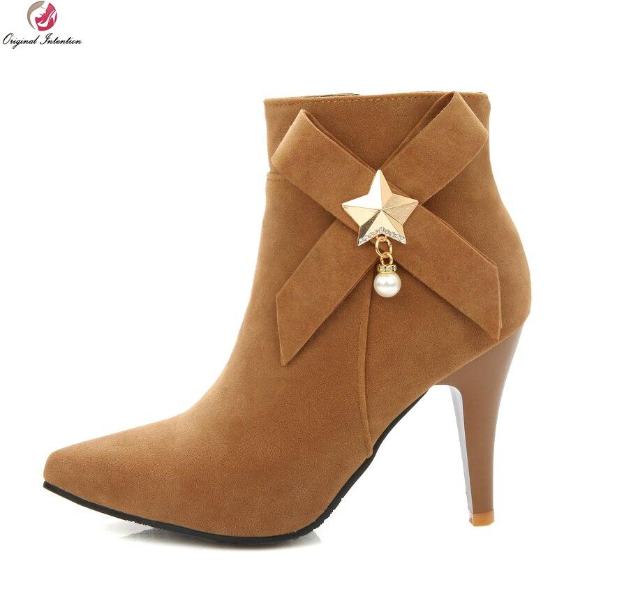 c1a2ed947ba7b8 Click here to Buy Now!! L. New Concise Femmes Cheville Bottes Élégant Bout  Pointu Talons Aiguilles ...